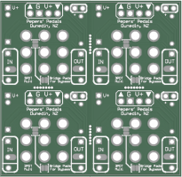 3PDT Stomp Switch Multipurpose daughter board. (Green, 4 x Panel)