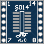 SOIC14 or TSSOP14 to DIL Adapter