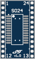 SOIC24 or TSSOP24 to DIL Adapter